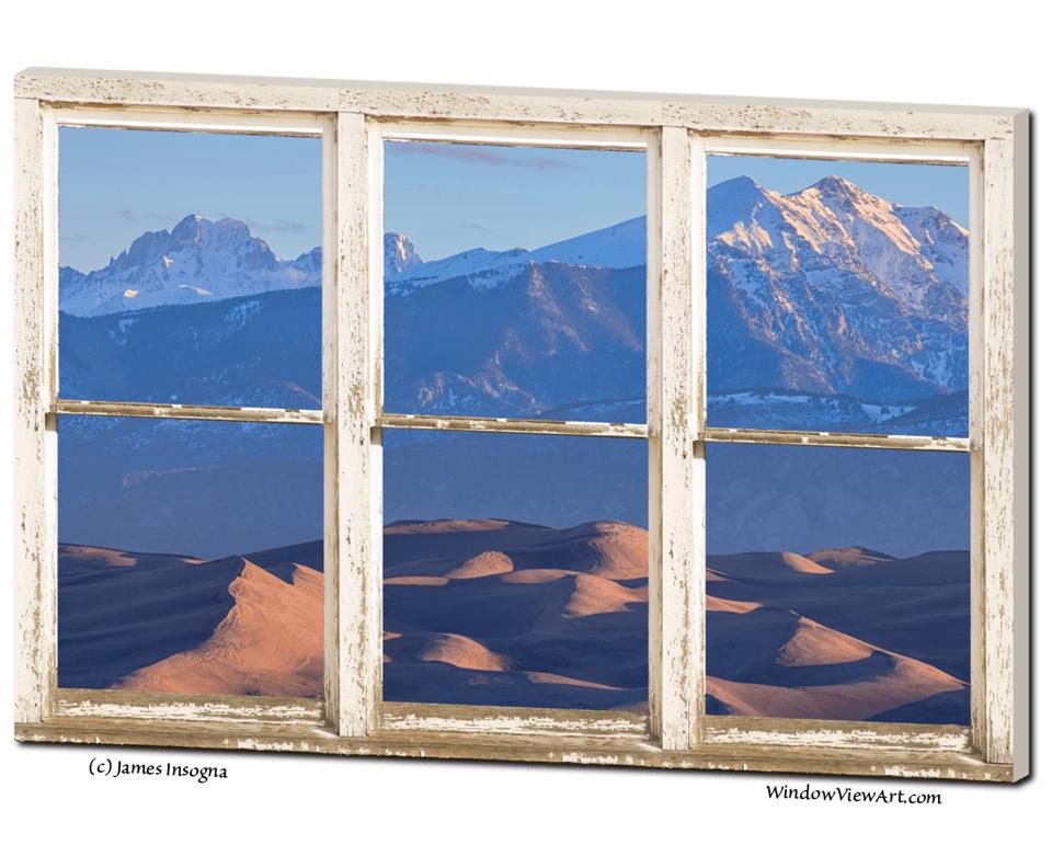 "Colorado Sand Dunes Rustic Picture Window 32""x48""x1.25"" Premium Canvas Gallery Wrap"