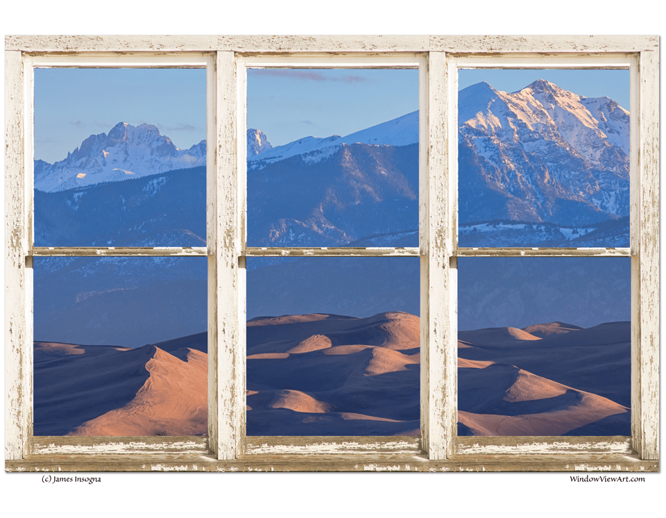 "Colorado Sand Dunes Rustic Picture Window 32""x48""x1.25"" Premium Canvas Gallery Wrap"