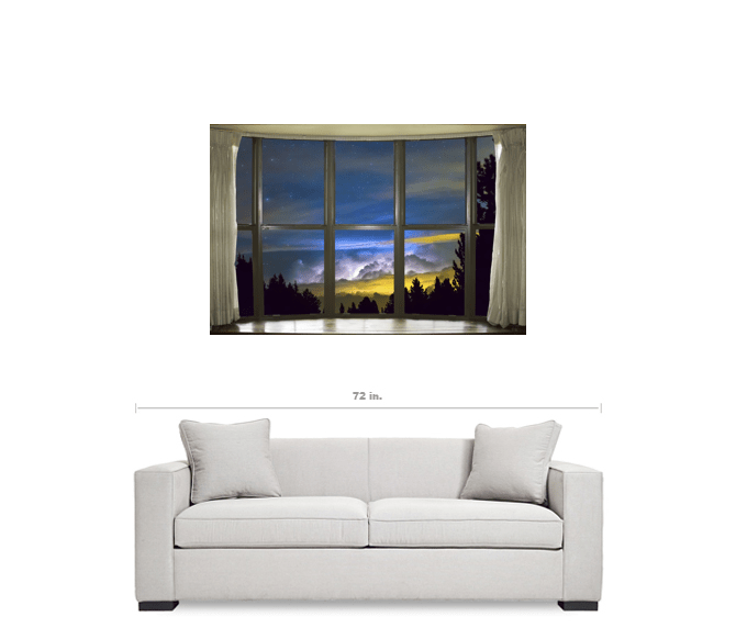 Magical Starry Night Bay Window View 32x48x1.25 Premium Canvas Gallery Wrap