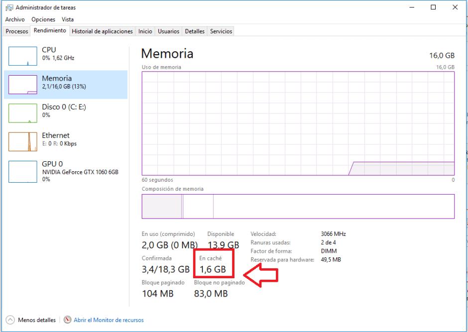 memoria administrador tareas - Aumentar FPS solución Drops Windows 10