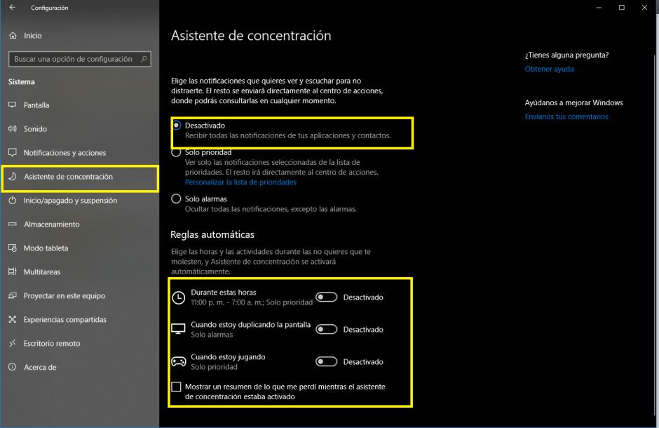 paso1 asistente concentracion - Aumentar FPS solución Drops Windows 10