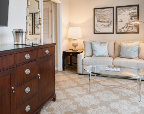 The living room space in one of our king guestrooms