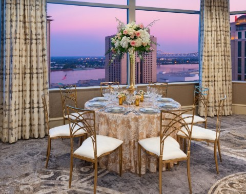 Event hosted in La Chinoiserie in the Windsor Court Hotel in New Orleans featuring seating dining