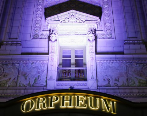 outdoor shot of the Orpheum Theater at night