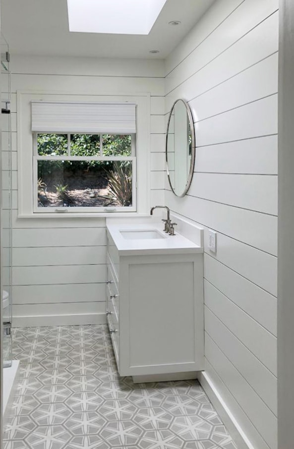 shiplap mirror tiles complete this