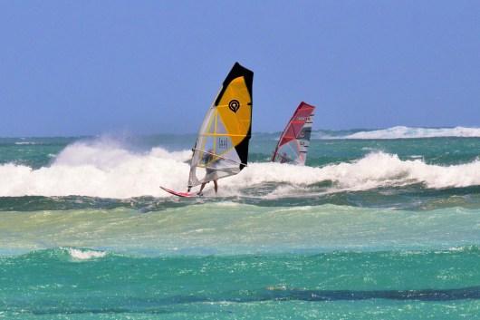 Wave surfing Le Morne Mauritius
