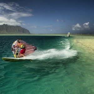 Robbty Naish does  aflawless laydown jib in Kaneohe Bay