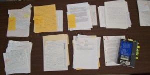 Notes in organized piles.