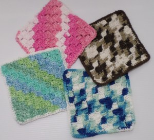 Diagonal Block Stitch dishcloth