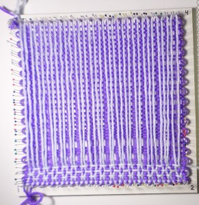 First four rows. Weaving is well underway, no casualties yet.