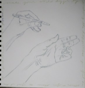 Decided to continue what seemed like a good thing, but I decided to practice drawing. I've always liked drawing my hands. But look, I even drew myself holding a WRITING pen! 12 July 2015