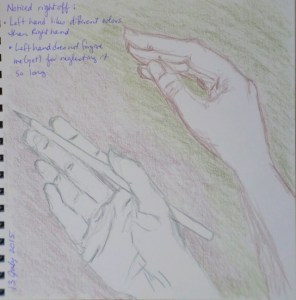 I decided to give the left hand a turn to draw the right. I consider myself right-handed, but I might have been able to be left-handed too. 13 July 2015