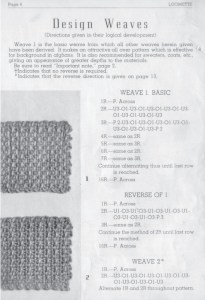 Instructions for Loomette Design Weaves--Reverse of 1