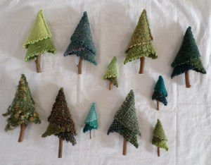 Trees made using 2-inch and 4-inch Weave-it looms