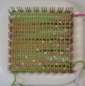 Second square with beads .