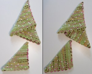 The triangles on the right are stacked correctly. Each shows its stripes in a horizontal orientation. The photo on the left shows one horizontal, two vertical.