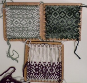 Three samples--two on the Loomette, one on the Weave-it.