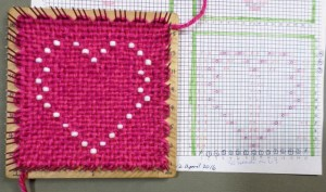 The finished heart on the loom