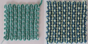 """Alternating Beads"" in 1&2/3&4 warping. Right shows the square with glass beads added."