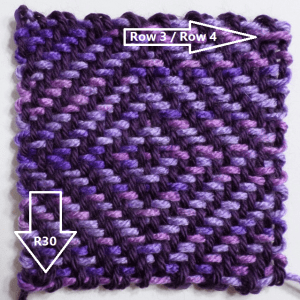 """""""Diamond Stitch"""" with the two mistakes I couldn't see till I took the square off the loom."""