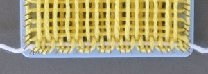 Close-up of R1 with yarn in place.