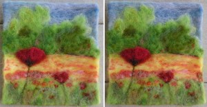 I thought I was all done (left photo) till I realized I'd made stairstep poppies that lead the eye right out of the picture. So I added another half-poppy on the right edge to lead the eye back in (right photo).