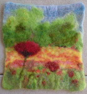 The felted version doesn't look as bright in the photo.