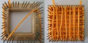 Tying yarn on the outside edges of the pins. The yarn going diagonally across the loom in the first photo doesn't mean anything. Just pay attention to the beginning of L1.