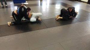 Two BJJ students being tested in the shark tank
