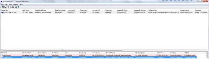 Este fue el resultado que obtuve cuando el sistema origino un pantallazo azul, ¿el problema? el driver de NVIDIA