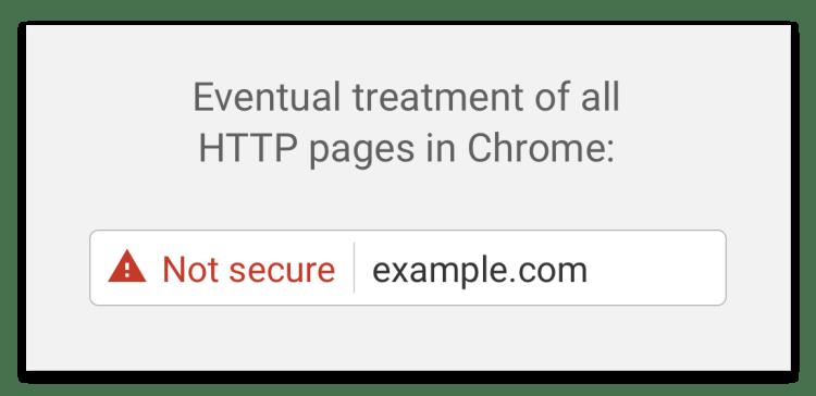 Asi se verá eventualmente la advertencia del navegador web al acceder a un sitio HTTP