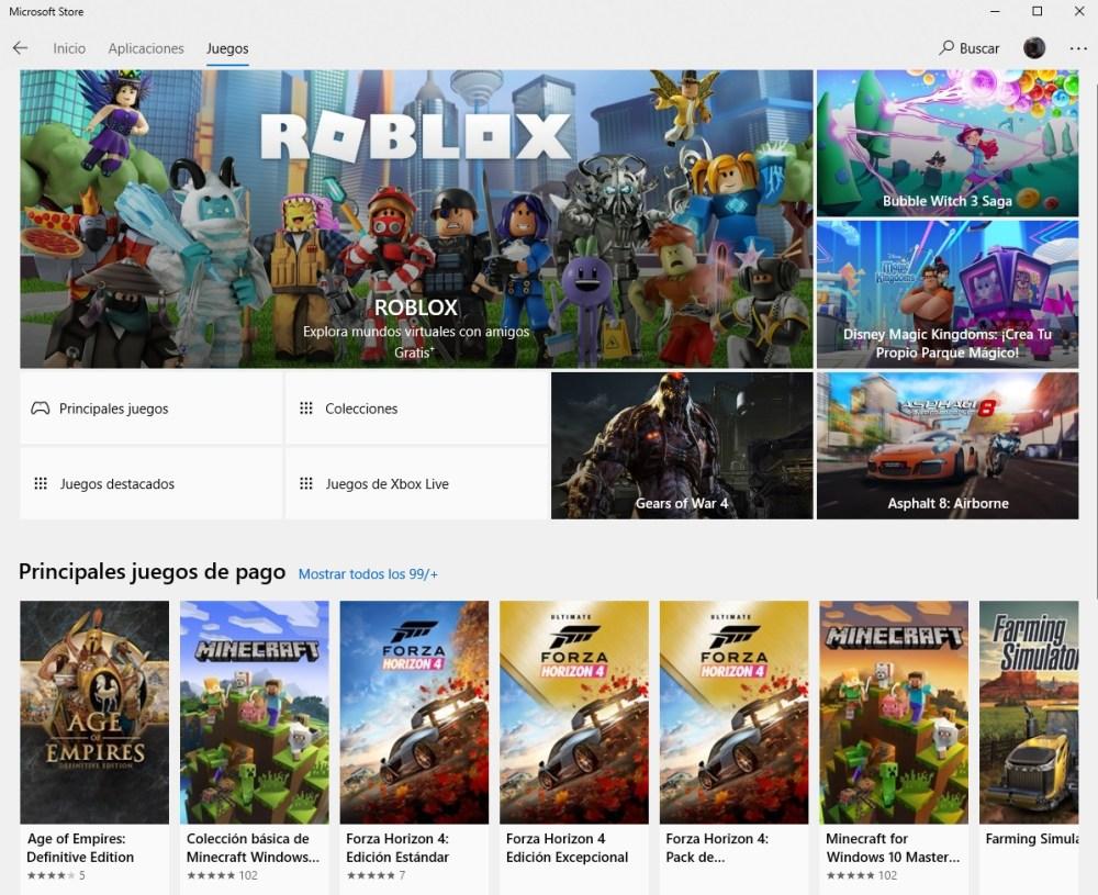 Microsoft Store juegos