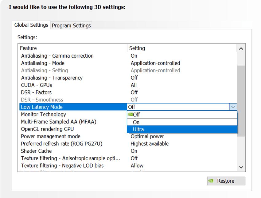 nvidia driver habilitar modo ultra baja latencia