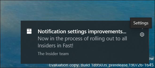 Build 18956 (20H1) notificaciones