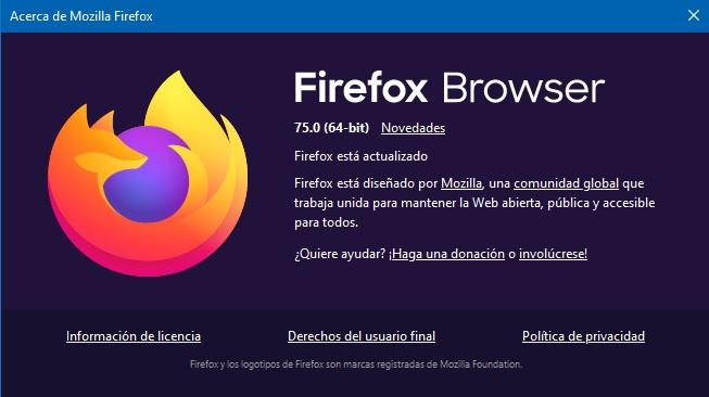 Firefox browser 75