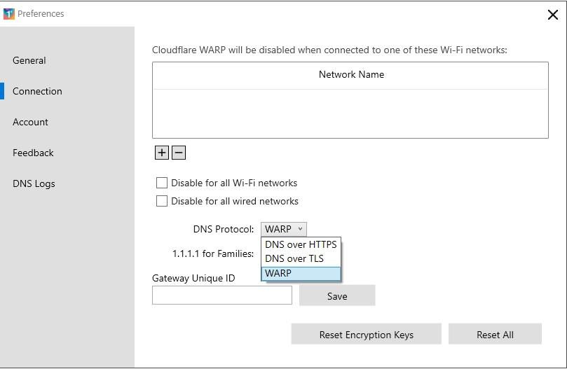 configuracion protocolo dns cloudflare warp