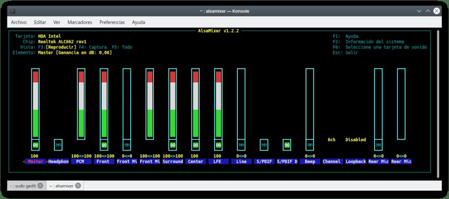 alsamixer sonido surround ubuntu 20.04