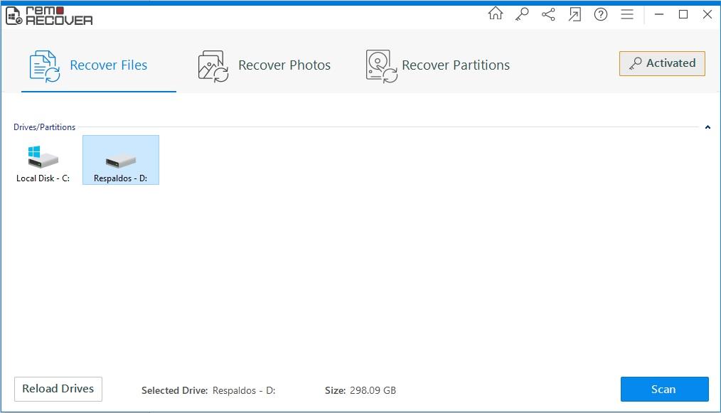 escaneo 01 Remo Data Recovery