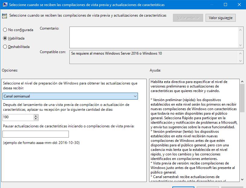 configurando los dias de aplazamiento de actualizaciones de caracteristicas en windows 10 20h1