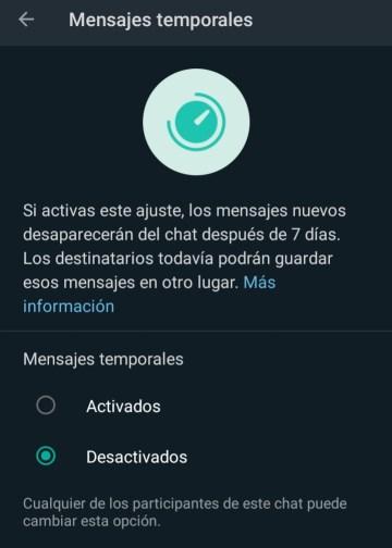 activar mensajes temporales funciones de whatsapp