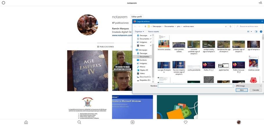 subir imágenes Instagram desde PC