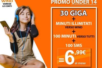 Under 14: 30 giga, minuti illimitati verso wind, 100 minuti verso tutti e 100 sms a 6,99€ al mese