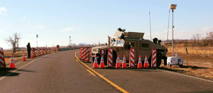 Military blocking the road that leads to Sacred Stone Park