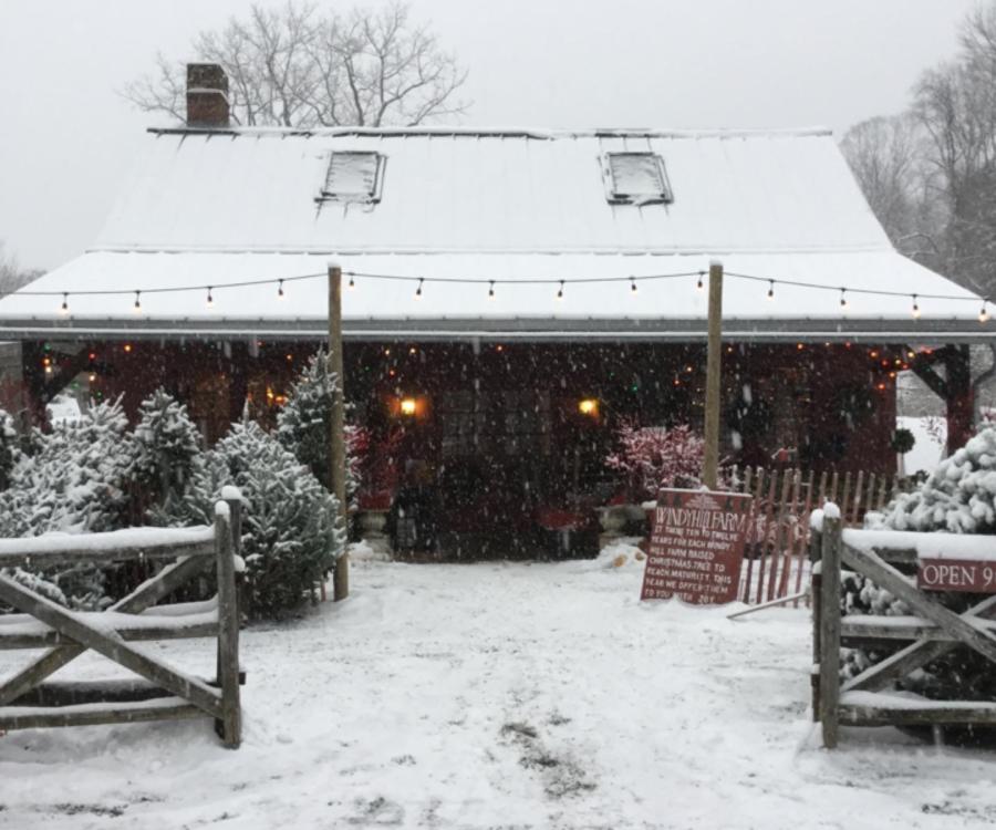 Winter outside of shop