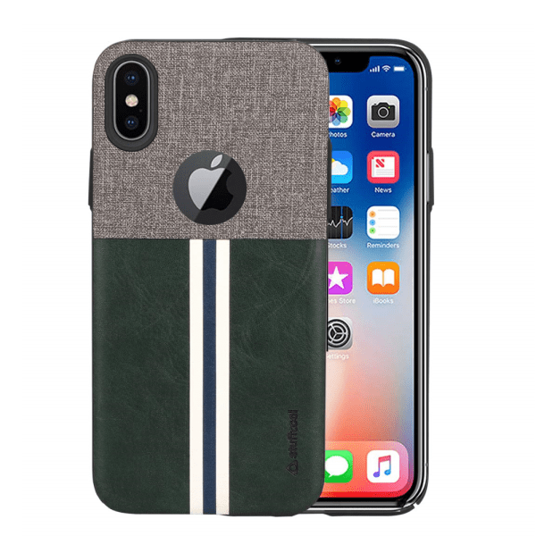 Stuffcool Eto Sport Stylish & Sporty PU Leather Back Case Cover for Apple iPhone X (Dark Green)