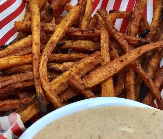 Homemade Baked Carrot Fries with Dipping Sauce