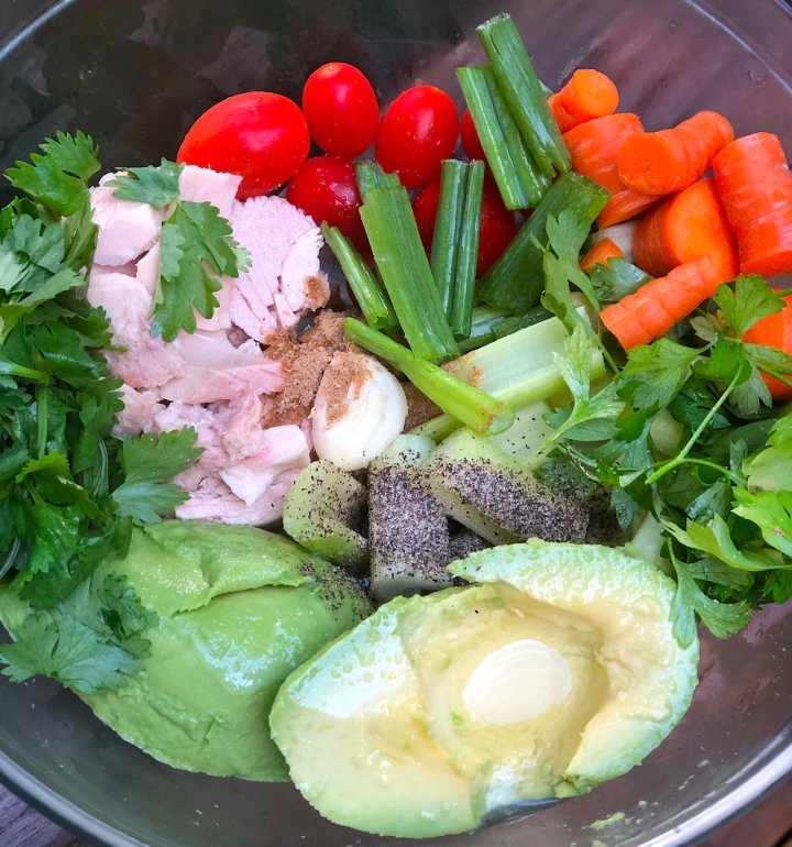 Ingredients for no mayo tuna made with avocado its Keto and paleo approved