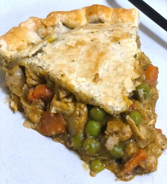 homemade chicken pot pie with pumpkin and rosemary pie crust