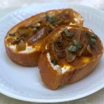 pumpkin butter crostini appetizers with caramelized onions & sage