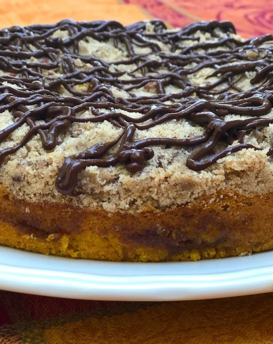 Moist Pumpkin Spice Coffee Cake with Chai Crumble Topping